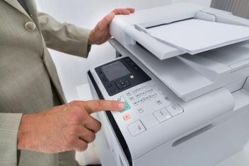 man at printer